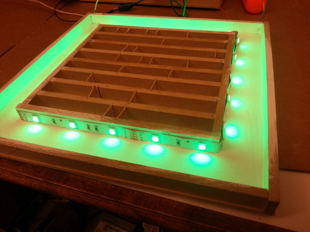 The RGB LED strip glued in place